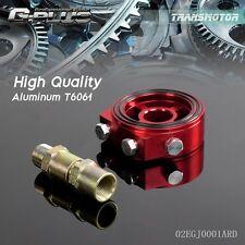 Racing Sport JDM Aluminum Oil/Gauge Filter Sandwich Adapter Plate Kit  Red