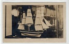 Photo postcard of a sailing ship model with a Massachusetts connection (C20736)