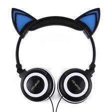 Foldable Mindkoo Earphone Cat Ear LED Glowing Lights Headset for HUAWEI P9 Black