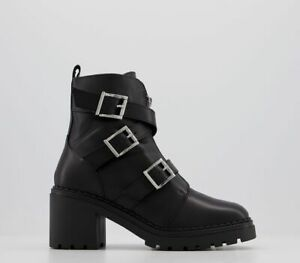Womens Office Absolute Buckle Casual Ankle Boots Black Leather Boots