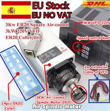 【ES NO VAT】3KW ER20 Air Cooled CNC Spindle Motor 220V+Inverter Driver VFD+Collet