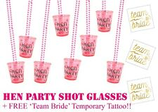 12 Hen Party Shot Glasses Fun Drinking Game Free Team Bride Tattoo Accessories