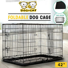 """42""""Dog Pet Cage Portable Collapsible Metal Crate Kennel House Playpen w/ABS Tray"""