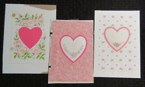 HEART OUTLINES with Pink & Blue Flowers Buds 3pcs 6.5x9 Greeting Card Art #V3717