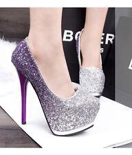 Stilettos Platform Sequins High Heels Gradient Color Women Shoes Pumps 3 Colors