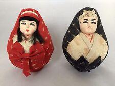 Authentic Japanese Hina Daruma couple, dolls set, 14cm, Japan import (D791)