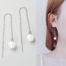Damen U-Ohrhänger Durchzieher Perle 8 mm echt Sterling Silber 925 lange Ohrringe