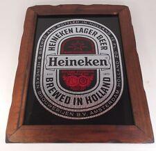 Vintage Heineken Reverse Glass Painted Wood Framed Holland Beer Sign