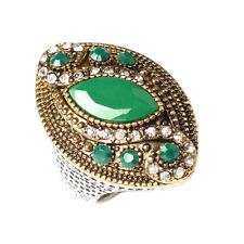 Vintage Style Green Leaf Men Unisex Women Large size Q 18 mm Finger Ring FR280