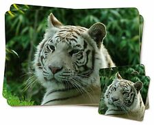 Siberian White Tiger Twin 2x Placemats+2x Coasters Set in Gift Box, AT-50PC