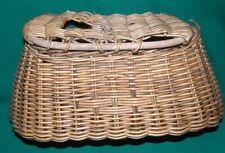 Vintage Primitive Fishing Creel Fly Wicker Basket Trout