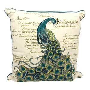 Pier 1 Beaded Sequin Embroidered Peacock Throw Pillow