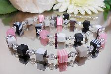 DESIGNER Würfel Kette / ROSA STRASS Hämatit RESIN + geschliffene GLAS Perlen