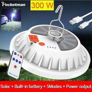 300W Rechargeable LED Bulb Lamp Remote Control Solar Charge Home Outdoor Camping