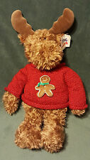 "GUND HUGS & KISSES GINGER MOOSE 21"" w/ Gingerbread Man Sweater Plush #1077 /Tags"