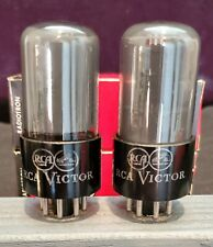 RCA VICTOR 6SN7GT 6SN7 SMOKED GLASS 1950's PLATINUM LABEL MATCHED SET TESTED