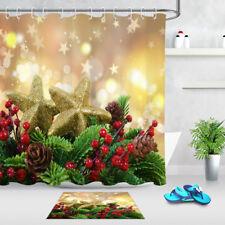 Bathroom Set Waterproof Fabric & Free Hooks Beautiful Christmas Shower Curtain
