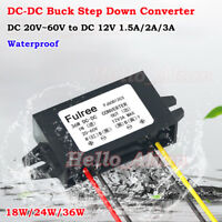 Waterproof DC-DC Buck Step Down Volt Converter 20V-60V 24V 36V 48V to 12V 3A Car
