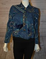 LIfe Style Small Button Down Jean Jacket Blue Suede Moon Print 100% Cotton Top