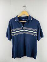 PGA Tour Men's Short Sleeve Casual Golf Collared Polo Shirt Size M Blue Striped