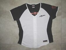 Harley Davidson HD Motorcycles Logo White Baseball Jersey Shirt WOmens XL USED