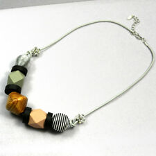 Geometric Wooden Beads Pendant Necklace Minimalist Long Sweater Chain Jewelry