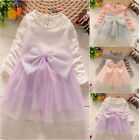 Princess Baby Girls Summer Long sleeve Sequin Bowknot Tulle Party Dress 1-5T