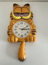 More details for vintage garfield animated wall clock quartz moving eyes and tail working rare