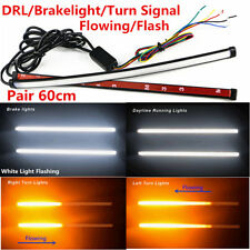 2x60cm Switchback Flowing Car DRL Turn Signal Flash LED Knight Rider Light Strip