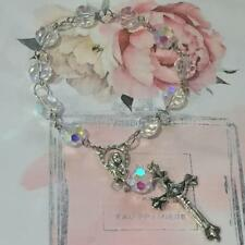 Mini Hand Rosary Crystal Bracelet with Silver Mother Mary and Jesus Cross Car