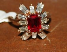 NEW WOMENS LARGE RED STONE WITH CUBIC ZIRCONA 18K HGE RING SIZES 6, 7