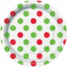 8 x Red & Green Polka Dots Paper Plates Christmas Party Supplies Christmas theme