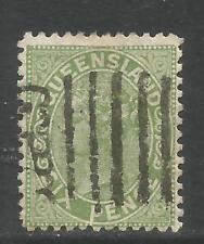 Queensland 1882-83 Queen Victoria 6p yellow green (69) used