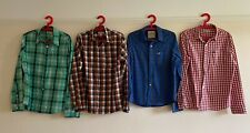 X4 Hollister Checked Long Sleeve Mens Shirts Size M Medium Blue Red Green