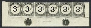 Trinidad 1923 SG D20 3d Superb Bottom Row With Plate 1 Strip  Unmounted
