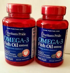 2 X Puritan's Pride Omega-3 Fish Oil 1000 mg (300 mg Active Omega-3)100 Softgels