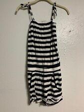 Girls Junior Size 12-13 Youth Black & White Stripes Romper Shorts H&M Tie Straps