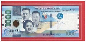NEW Enhanced 2020 PHILIPPINES 1000 Peso NGC Duterte & DIOKNO Solid ME 888888 UNC