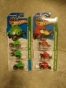 2012 Hot Wheels IMAGINATION ANGRY BIRDS RED BIRD and MINION PIG Lot Of 6