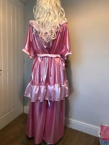 Shimmering Pink Palazzo Pants & Dress,with satin frill, Sissy,CD,TV, Cosplay