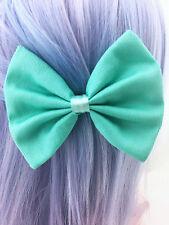 Mint Green Fabric Medium Hair Bow - Pastel Aqua Solid Colour Hair Clip