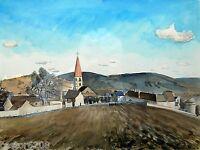 TABLEAU AQUARELLE village Paysage de campagne signé S CROCHET 68 cadre 52x64 cm