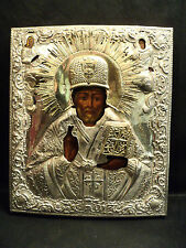 RARE ANTIQUE RUSSIAN ICON SAINT NICHOLAS with SAINTS, HALLMARKED SILVER OKLAD