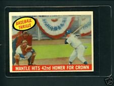 1959 Topps # 461 Mickey Mantle Baseball Thrills Yankees