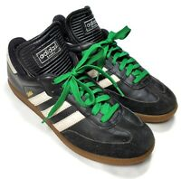 Adidas Black White Samba Classic Soccer Casual Shoe Green Laces Size 7.5 034563