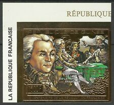 Guinee Revolution Robespierre Non Dentele Or Surch Imperf Ovpt Gold Foil ** 1992