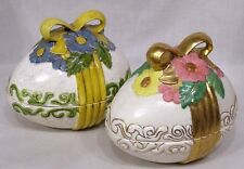 Vintage Pair Ceramic Easter Eggs Covered Candy Dishes Flowers Bows 1970s