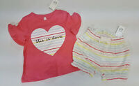 NWT Baby Gap Girls 6 12 18 Months Pink Heart Ruffle Top & Striped Shorts Outfit