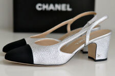 NIB CLASSIC 2016 CHANEL Two-Tone Silver Black Leather Slingbacks shoes EU 37