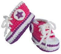 BePe Baby Infant Booties - Crochet Sneakers - Deep Pink - (0-6 Months)